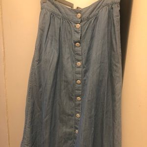 Madewell denim chambray skirt